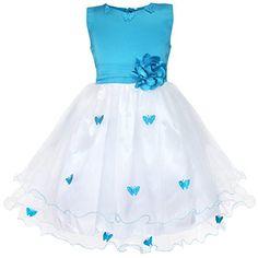 iEFiEL Vestido Elegante de Mariposas de Fiesta Bautizo para Niña Vestido Infantil Azul 2 Años