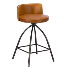 The Dylan tan bar stool has a swivel seat and comes with plenty of vintage appeal. The soft leather seat is accented with a solid iron base and ensures that this bar stool looks great with any breakfast bar from urban homes to modern loft conversions. Brown Leather Bar Stools, Brown Bar Stools, Leather Stool, Modern Bar Stools, Tan Leather, Black And White Chair, White Chairs, Black White, Bar Stools For Sale
