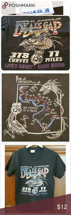 """Deal's Gap Dragon Motorcycle tee, size Small World famous Deal's Gap Dragon (US 129) * Hanes Beefy short-sleeved tee * Size Small (17 1/2"""" shoulders, 35"""" chest) * Black motorcycle theme * 318 curves, 11 miles * """"Life's short, ride hard"""" * Good condition, no holes, but definitely pre-loved & slight fading! * Non-smoking home of Aurora33180  * Bundle for a discount! Hanes Tops Tees - Short Sleeve"""