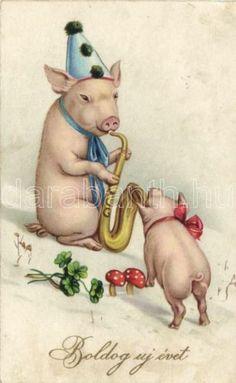 Pig Vintage Happy New Year, Happy Pig, Pig Art, Cute Piggies, Animal Cards, Little Pigs, Vintage Greeting Cards, Cool Cartoons, Vintage Postcards