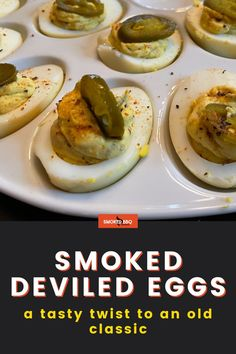 Want to wow your guests at the next BBQ? Learn how to cook these super tasty smoked deviled eggs that are packed with spice and smoky flavor. Smoked Eggs, Barbecue Side Dishes, Mustard Pickles, Bbq Rub, How To Cook Eggs, How To Make Salad, Deviled Eggs, Learn To Cook, Coleslaw