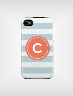 Monogrammed iPhone 5 Case 4 / 4S or 3G or Samsung - Aqua and Coral Beach Stripes - original design by a drop of golden sun