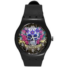 Day of the Dead Swatch-style watch by ShayneoftheDead on Etsy.