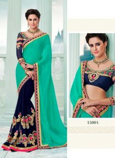 Aspiring Turquoise And Royal Blue Georgette Silky Half N Half Saree