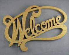 Welcome sign wall art, wood welcome sign scroll saw word art maple wood