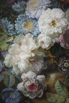Vase de fleurs sur une table de pierre avec un nid & un verdier (detail) by MisterPeter!, via Flickr