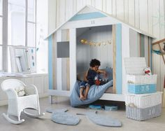 Wooden 90 x child's hut bed in white and blue
