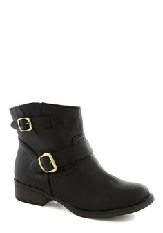 Out to Luncheon Bootie - Black, Solid, Buckles, Steampunk, Low, Faux Leather, Better, Casual