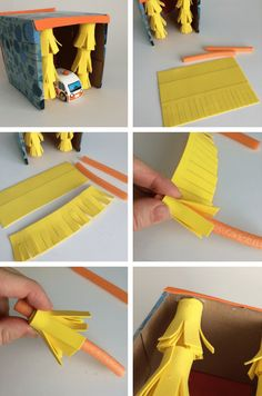 Easy Crafts: How To Make A Tissue Box Toy Car Wash diy car wash toy – car wash brushes tutorial Toddler Crafts, Preschool Crafts, Diy Car Wash, Diy For Kids, Crafts For Kids, Cardboard Car, Cardboard Crafts, Creative Play, Tissue Boxes