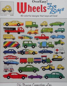 The Design Connection WHEELS FOR BOYS Over Easy Cars Trucks - Counted Cross Stitch Pattern Chart