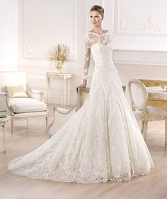 Atelier Pronovias 2014 Yesuru - pretty for winter wedding Muslim Wedding Dresses, Wedding Dresses 2014, Designer Wedding Dresses, Bridal Dresses, Wedding Gowns, Bridesmaid Dresses, Wedding Bride, Pronovias 2014, Lace Wedding Dress With Sleeves