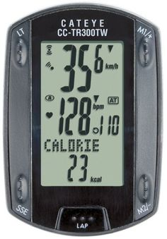 Cateye CC-TR300TW Triple Wireless Cadence and Heart Rate Bicycle Computer by Cateye. $144.99. Amazon.com                Featuring Cateye's exclusive ID-coded double wireless system, this bicycle computer provides three windows displaying four readouts. In addition to displaying the rider's heart rate, functions offered are the following: current cadence; average cadence; maximum cadence; total pedal revolution; resettable total distance; resettable distance unit; lap n...