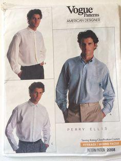 """Vtg Vogue American Designer Perry Ellis Sewing Pattern 2208  Size 16.5""""-17""""-17.5 #VoguePatterns"""