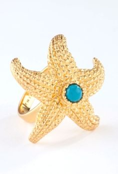 Gold Beachy Starfish Ring with a cool turquoise center