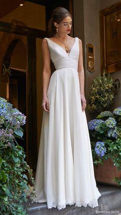 Stephanie Allin Bridal 2017 'Demi' #sleeveless #vneck #beaded bodice #aline #wedding dress