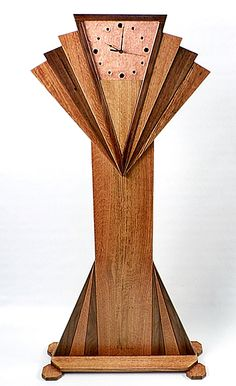 Oak Walnut Copper Art Deco Fan Grandfather Clock Long Case Clock