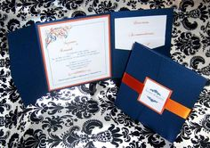 blue and orange wedding Invitations