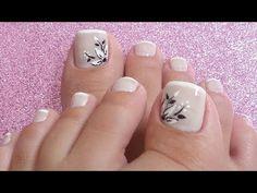 UNHAS DECORADAS PARA OS PÉS - YouTube Pedicure Designs, Pedicure Nail Art, Toe Nail Designs, Toe Nail Art, Pretty Toe Nails, Cute Toe Nails, Pretty Toes, Nail Art Pieds, Hair And Nails
