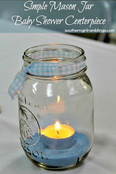 I'd use midnight blue same and no gingham on the ribbon to fit a space theme better. - Mason Jar Baby Shower Centerpiece