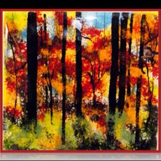 """Autumn Forrest 12x14"""" 1/2"""" thick    3d fused glass art"""