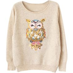 Choies Beige Sequined and Embroidered Owl Jumper (120 BRL) ❤ liked on Polyvore featuring tops, sweaters, jumpers, pullover, beige, embroidered sweaters, pink sequin top, pink pullover sweater, sequin pullover and sequin sweater