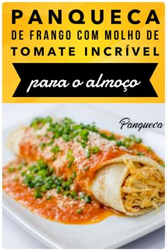 #panqueca #frango #almoço #receitadodia Gabriel, Crystal, Chicken, Meat, Cooking, Tomato Sauce, Tasty Food Recipes, Italian Bread, Vegan Meals
