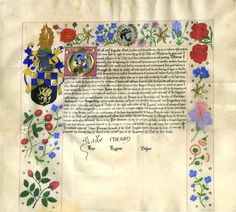 Patent of Arms (Order of the Laurel) for Master Arenwald von Haagenberg    Yseult de Lacy    This scroll is based on Elizabethan Grants of Arms, with a portrait of the recipient in the initial istead of the King of Arms giving the grant. A grisaille portrait of King Jade of the West occupies the laurel wreath at top centre. Goat parchment, W gouache, raised gilding on plaster-based gesso.