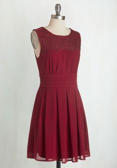 V.I.Pleased A-Line Dress in Wine. From the theatre to dinner, to the velvet rope - wherever you go, you go in style! #red #modcloth