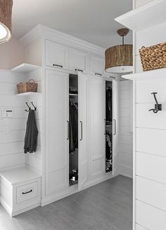 MUDROOM IDEAS – The mudroom is a very crucial part of your house. Mudroom allows you to keep your entire home clean and tidy. Mud room or you can call it an entryway is an ideal place where y… Mudroom Cabinets, Mudroom Laundry Room, Mud Room Lockers, Built In Lockers, Built In Bench, Storage Cabinets, Entry Closet, Room Closet, Bedroom Ideas