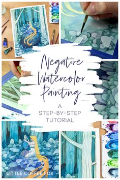 Watercolor Negative Painting Tutorial - Add Amazing Depth to Your Art Want to figure out how to add depth and contrast to your paintings? I share one of my favorite techniques with this watercolor negative painting tutorial! Watercolor Negative Painting, Watercolor Paintings For Beginners, Watercolor Trees, Watercolour Tutorials, Watercolor Techniques, Art Techniques, Simple Watercolor, Tattoo Watercolor, Watercolor Animals