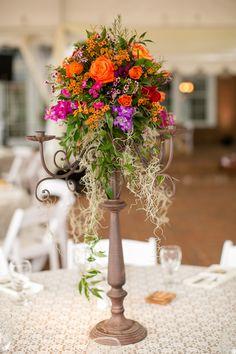 Floral centerpiece. Multicolored Fall Wedding by Amanda Hedgepeth Photography » KnotsVilla
