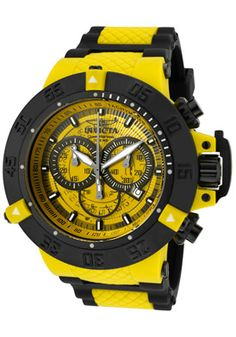 Super Cool Invicta Men's Subaqua/Noma III Chronograph Yellow Transparent Dial Black Polyurethane. On sale for $166.99