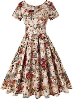Cocktail dress vintage - ROOSEY Womens Retro Vintage Cocktail Dress Style Rockabilly Swing Party Dresses for Women Pattern 3 XLarge Click image for more details (This is an affiliate link) fashiondresses Retro Vintage Dresses, Vintage Inspired Dresses, 50s Dresses, Party Dresses For Women, Retro Dress, Pretty Dresses, Beautiful Dresses, Short Sleeve Dresses, Homecoming Dresses