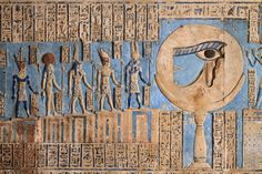 """[EGYPT 'The waxing moon and the Eye of Horus at Dendera.' This forceful image of the moon on a pillar, decorated with the """"healed eye"""" of Horus, can be found on the astronomical ceiling of the outer hypostyle hall in the Hathor Temple at Dendera. Egyptian Mythology, Ancient Egyptian Art, Ancient Aliens, Ancient History, Ancient Greek, European History, American History, Egyptian Temple, Egyptian Goddess"""