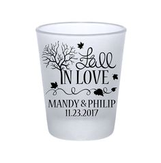 """100x Frosted Shot Glasses Fall Wedding/Autumn Wedding Favors 