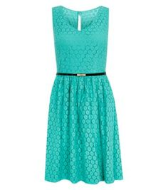 Mint Green Sleeveless Geo Lace Belted Skater Dress