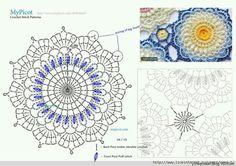 ergahandmade: Crochet motif + Diagrams + Free Pattern Step By Step Crochet Mandala Pattern, Crochet Diagram, Doily Patterns, Crochet Chart, Crochet Stitches, Crochet Patterns, Crochet Diy, Crochet Home, Irish Crochet