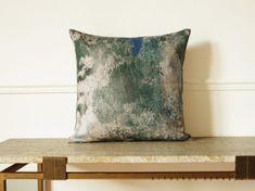 """Abstract art plant motif pillow Vine / Linen squart pillow 18""""x18"""".  Green..  /  FRAGMENTS"""