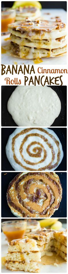 Banana Swirl Cinnamon Roll Pancakes. Here's the BEST pancake you'll ever make--fluffy, light as air pancakes with a banana pecan cinnamon swirl! A cross between CINNAMON ROLLS+BANANA BEAD+PANCAKES..Get the Step by Step recipe and photos! www.twopurplefigs.com