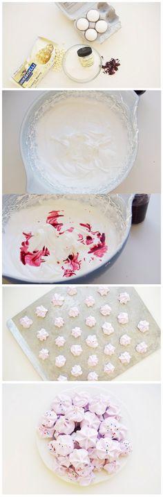 Hibiscus and White Chocolate Meringues