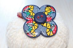Handmade jewelry, necklace, polimer clay, leather, flower polymer clay pendant. Unique gift.