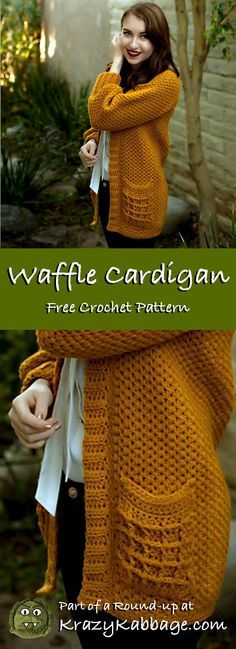 Cozy cardigans free crochet patterns krazy kabbage crochet cardigan free pattern fall style fashion waffle loopsandthreads impeccable gold yarn the melanie tee free crochet pattern featuring baad mom yarns Cardigans Crochet, Knitting Patterns Free, Crochet Patterns, Crochet Ideas, Crochet Projects, Sewing Patterns, Sewing Designs, Knitting Tutorials, Doll Patterns