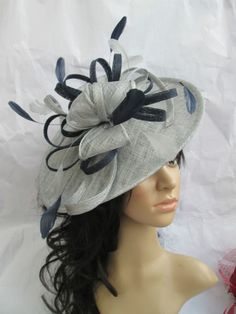 Silver Fascinator Hat with navy Blue trim by SpecialDayfascinator Silver  Fascinator bec74e4f55d