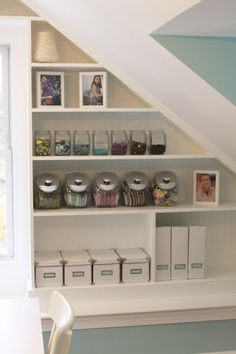 Under stairs pantry in basement? Finished attic craft area by what lies within Craft Room Office, Home Organization, Interior, Office Crafts, Room Diy, Attic Remodel, Home Decor, Space Crafts, Craft Room Organization
