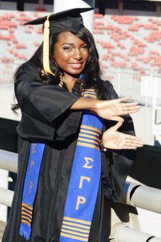 from Marsha Hale Graduation Cap And Gown, Sigma Gamma Rho, Gold Girl, Royal Blue And Gold, Dark Skin Beauty, Sister Friends, Sorority And Fraternity, Graduation Pictures, Greek Life