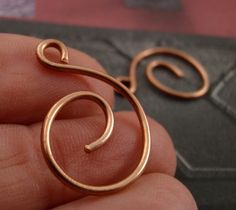2 Simple Swirl Solid Metal Clasps 23mm X 17mm - Perfect For Anklets - Copper, Brass, Bronze, Stainless Steel, Black Iron - Handmade