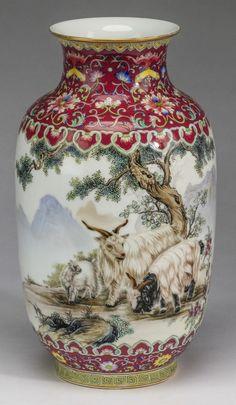"""Chinese landscape vase, Qianlong mark, 13""""h : Lot 11"""
