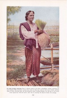 Javanese woman after the rice harvest - colour plate from 1940s book by route44west, $10.00
