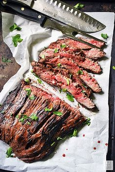 Marinated in the best flank steak marinade ever, my recipe for cast iron fl Cast Iron Flank Steak, Cast Iron Skillet Steak, Iron Skillet Recipes, Cast Iron Recipes, Skirt Steak Recipes, Flank Steak Recipes, Easy Steak Recipes, My Recipes, Beef Recipes