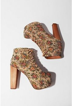 Jeffery Campbell Lace-up Tapestry Platform Boot. My mom has these and LOVES them! I wish I was her size so I could wear them!
